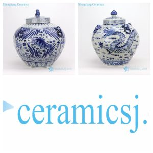 RZFH16-AB Blue and white genuinely hand painted apple shape ceramic jar with fish or fragon pattern