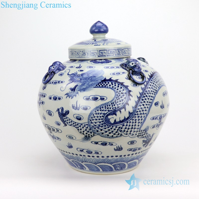 apple shape ceramic dragon jar