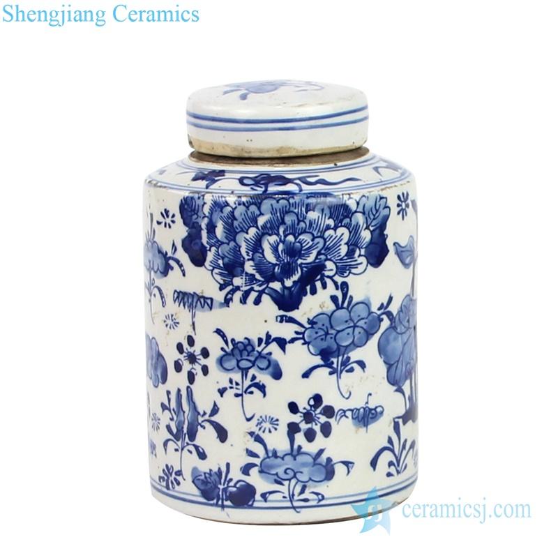 peony ceramic tin jar