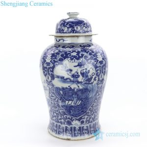 RZKT24-B Antique style hand painted blue color immortals and farmer ceramic jar