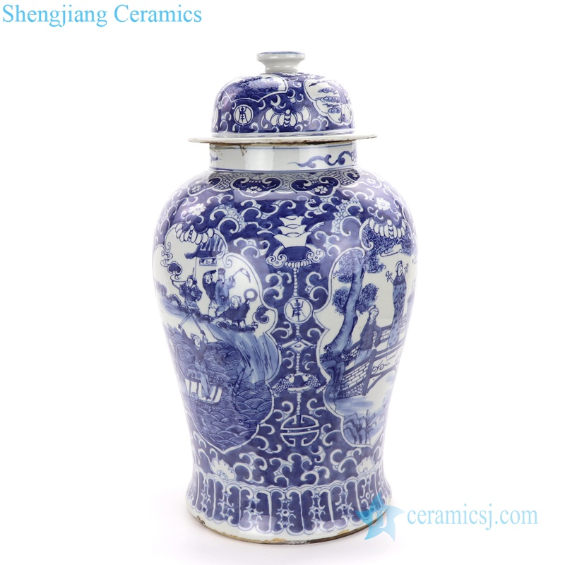 immortals and farmer ceramic jar