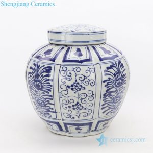 RZKT26 Hand draw floral pattern melon ridges shape ceramic jar