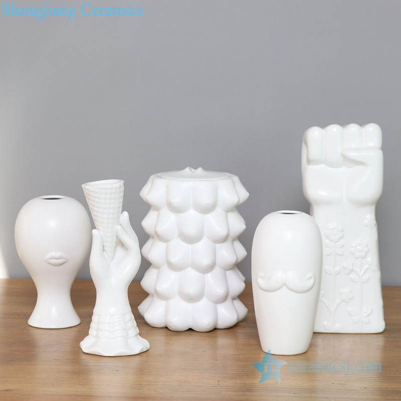 white modern pottery vase