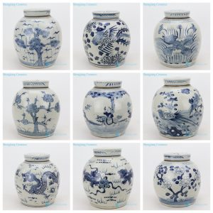 RZMV36-AI Jingdezhen China artisan hand painted old porcelain jar in blue color