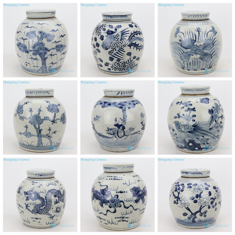 ancient porcelain dark blue flat lid porcelain jar