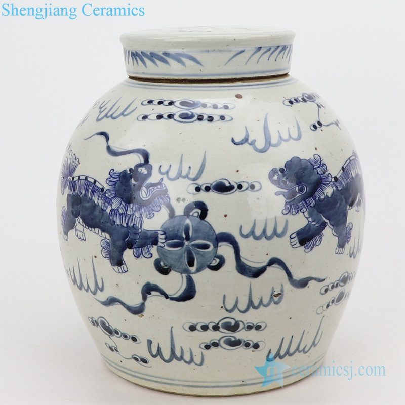 lion playing silk ball ceramic jar