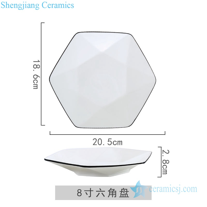 RZOB-14-A/B Six-pointed star ceramic plate with black rim