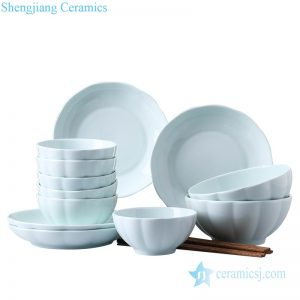 RZOB002 Celadon porcelain pumpkin design dinner bowls and plates