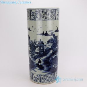 RZPJ08 Antique feeling hand paint landscape ceramic umbrella stand