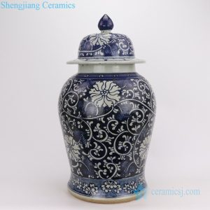 RZPJ09 Crude clay hand painted flower porcelain jar