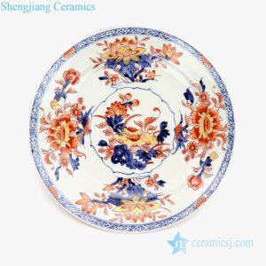 RZQF01 Red lotus handcraft export porcelain plate