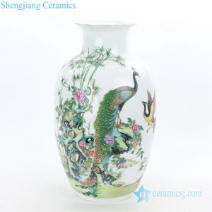 RZQG01 Famous Jingdezhen painter handcraft peacock ceramic vase
