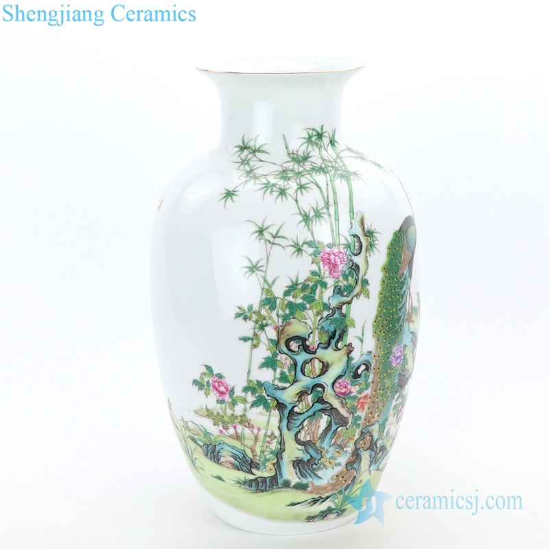peacock ceramic vase