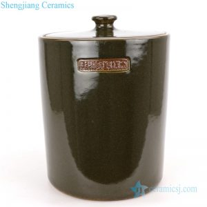 RZQi01 Green tea dust glaze ceramic jar