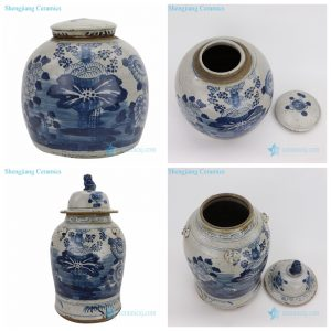 RZEY03-RZEY12 Chinese traditional antique finishing lotus painting porcelain jar