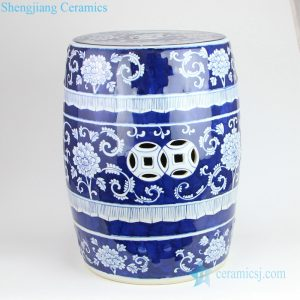 RYLU183 Blue ceramic stool with white flower