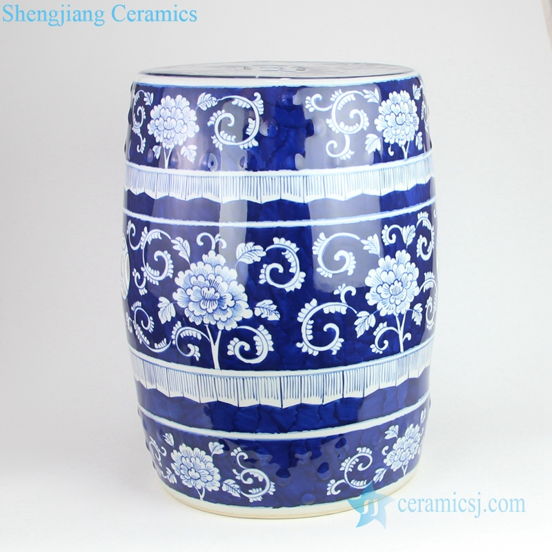 white and blue ceramic garden stool