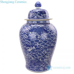 RYLU184 Ocean waves painting blue and white ginger jar