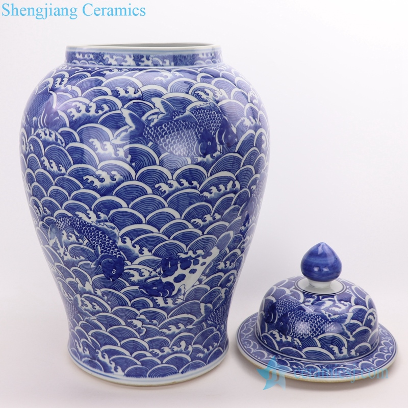 fish painting ceramic jar