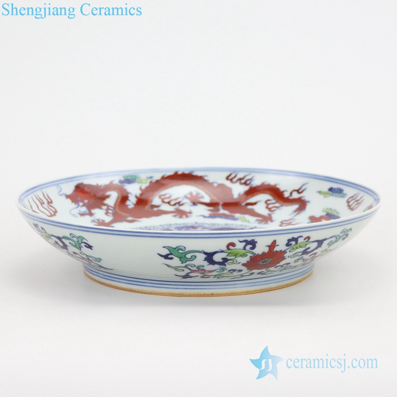 enamel painted porcelain plate