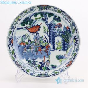 RYQQ58 Qing Dynasty vintage Characters painting plate
