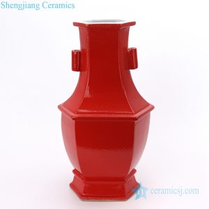 RYSM05 Jingdezhen vintage Copper-Red-Glazed square ceramic vase