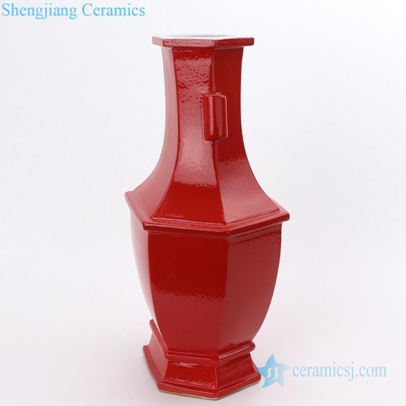 table top red ceramic vase