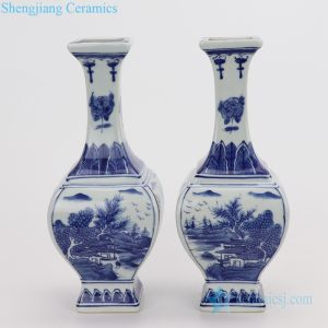 RYUK35 Chinese antique Qing dynasty white and blue decor vase