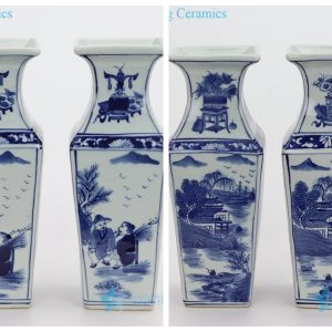 RYUK367 White background with blue figure painting vase