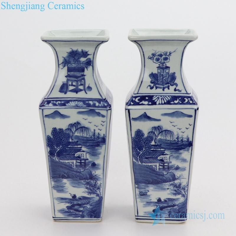 Landscape painting ceramic vase