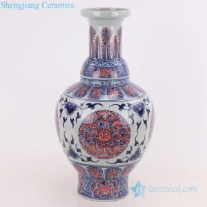 RYVK19 Reproduce antique hand painted blue and underglaze red ceramic vase