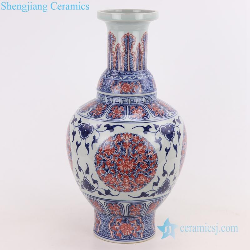 red glazed ceramic vase