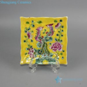 RYZG24 yellow backdrop famille rose double phoenix and peony square plate