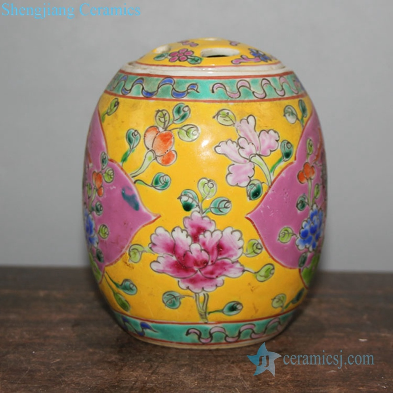 famille rose porcelain tea jar