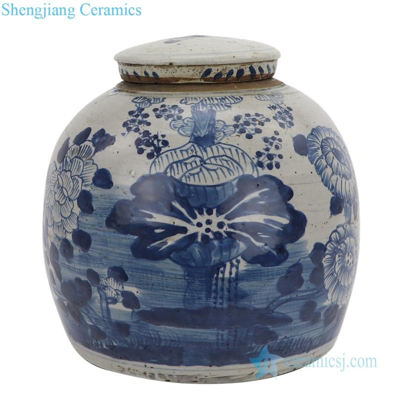 lotus painting ceramic tea jar