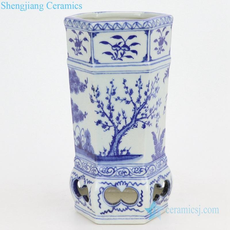 six sides ceramic vase