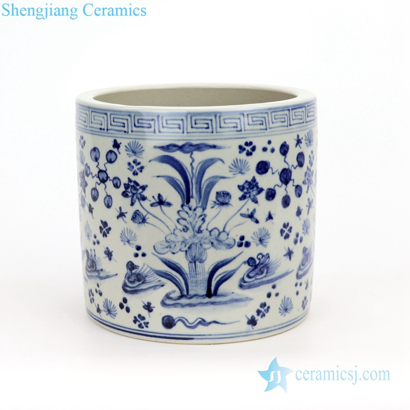 blue and white flower ceramic pencil vase