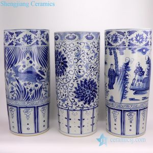 RZFH19-A/B/C hand painted white background blue painting ceramic umbrella stand