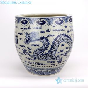 RZFH20-A/B Jingdezhen B/W dragon and lion ceramic vat
