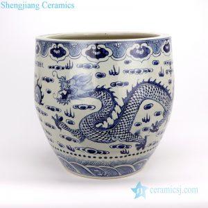 RZFH20-A/B Jingdezhen B/W dragon and lion ceramic vat