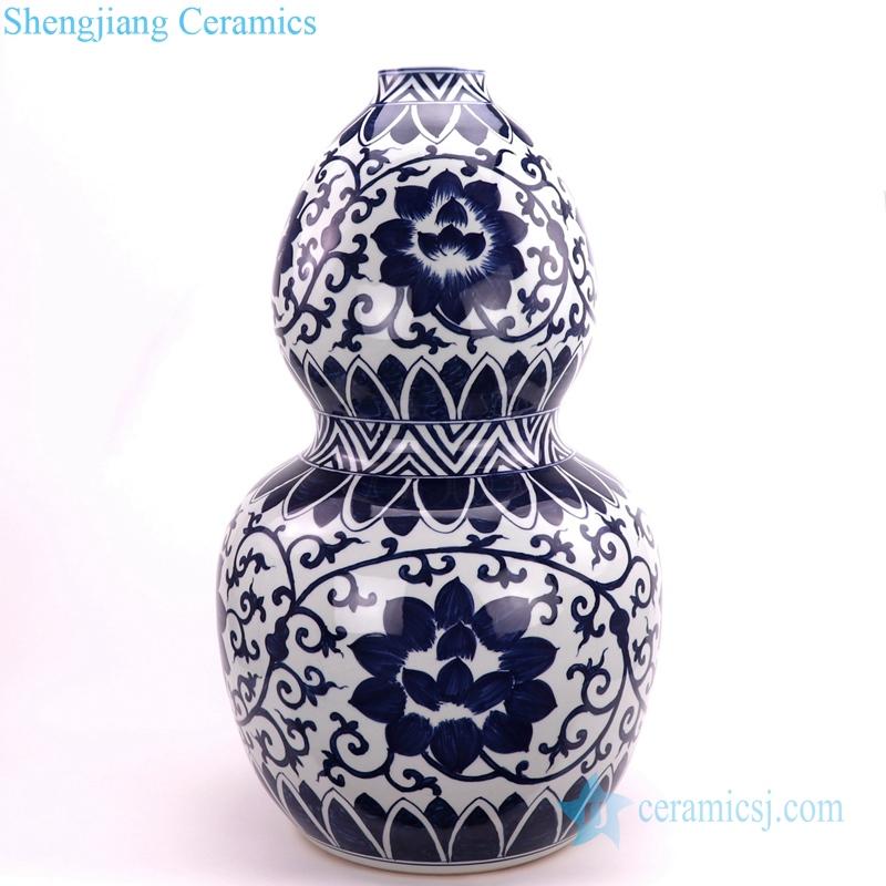 blue and white gourd-shaped ceramic vase