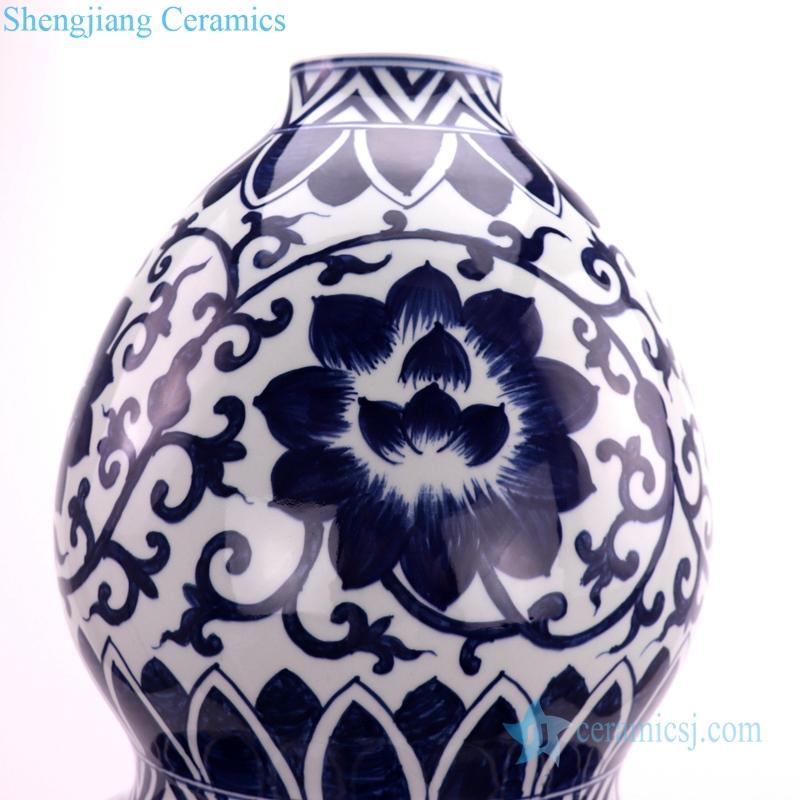 chinese gourd-shaped ceramic vase deatil