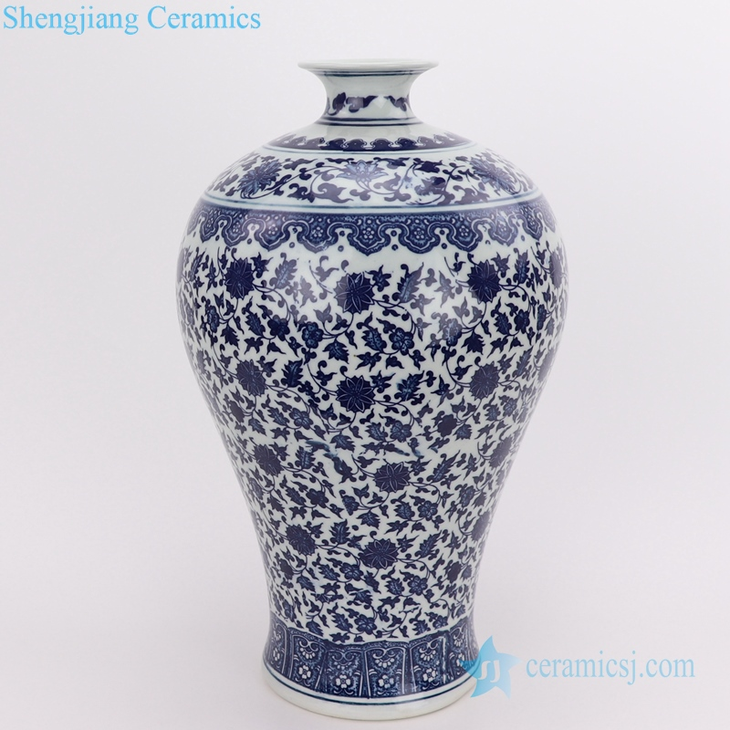 chinese blue and white plum vase front view