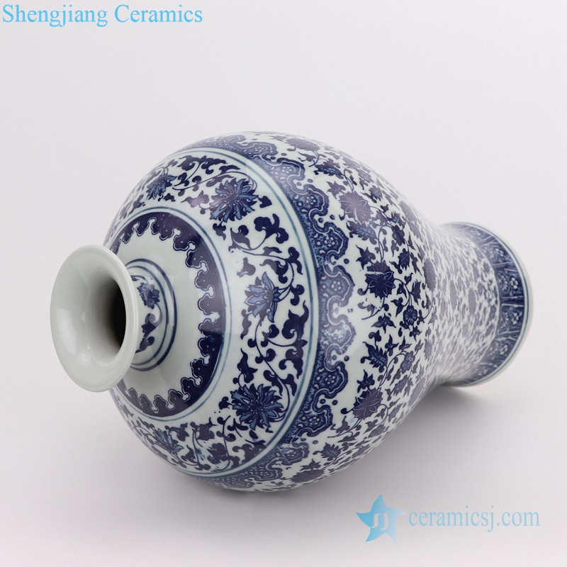 blue and white plum vase side view
