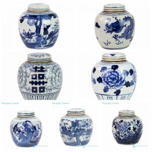 RZFZ06 Shengjiang white background with blue painting small ceramic tea jar with lid