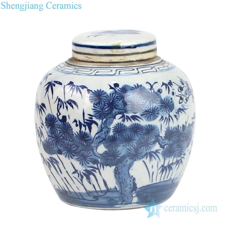 beautiful landscape drawing ceramic jar