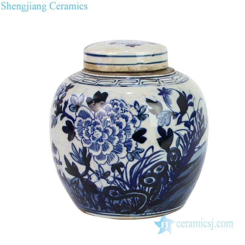 chinese style flower painting small tea jar