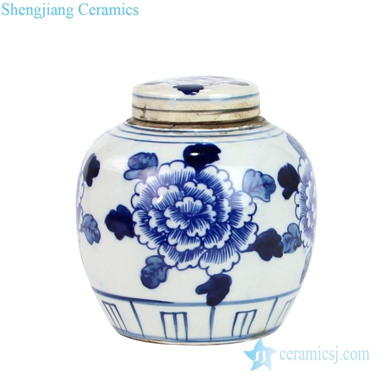 Chinese style beautiful Peony ceramic jar