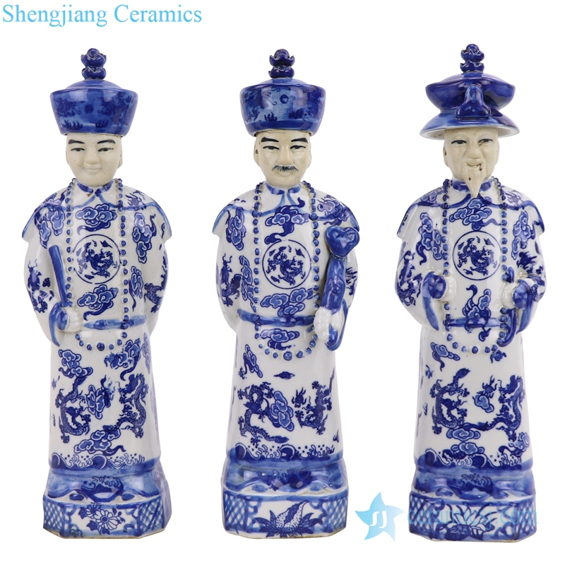 blue and white ceramic statue