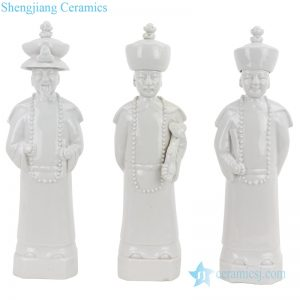 RZKC26 China Qing dynasty 3 emperors white ceramic figurine